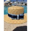 Соломенная шляпа канотье с полями 5 см (декор)