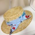 Соломенная шляпа канотье с платком